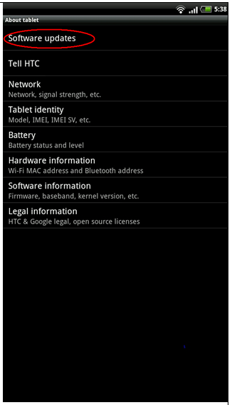 HTC Flyer version Android 3.2 update.