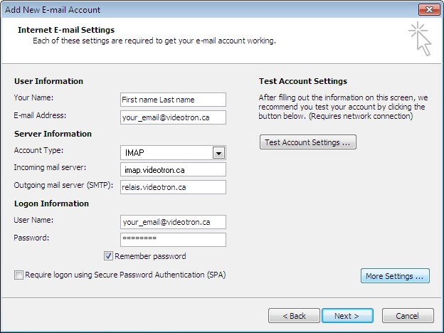 Creation of a Outlook 2007 IMAP account