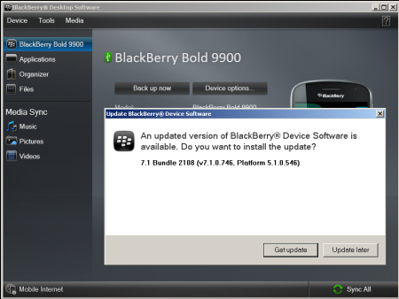 BlackBerry Bold 9900 update.