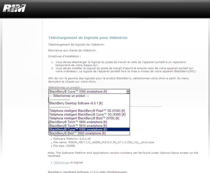 Blackberry Curve 9360 Upgrade   Technical Support   Videotron