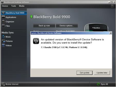 BlackBerry Bold 9900 update