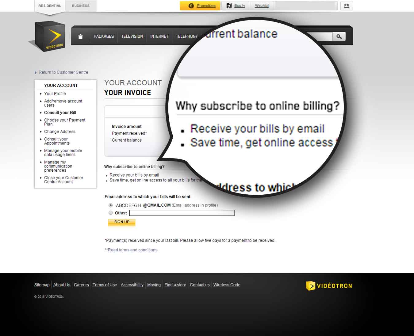 Receive Mode - Videotron online invoice