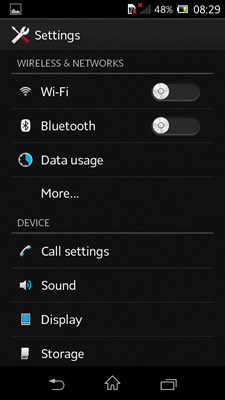Android Sony Configuration