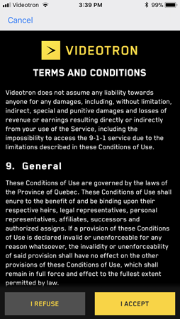 6. Read and accept the Terms and conditions.