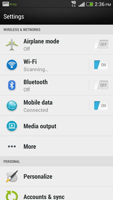 Android HTC Configuration